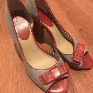 Sexy bp vintage style red n blue jean heels sz8